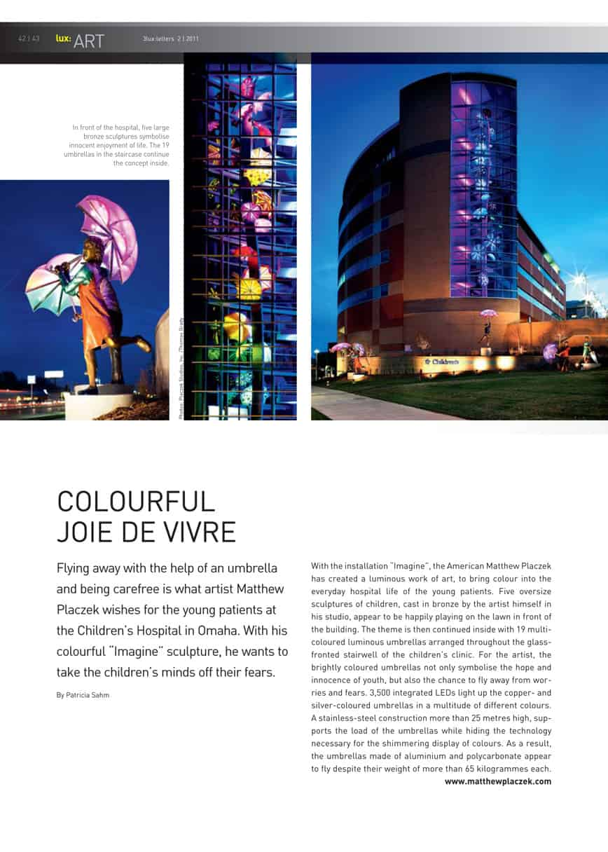 Luz art Magazine article Imagine Children's Hospital