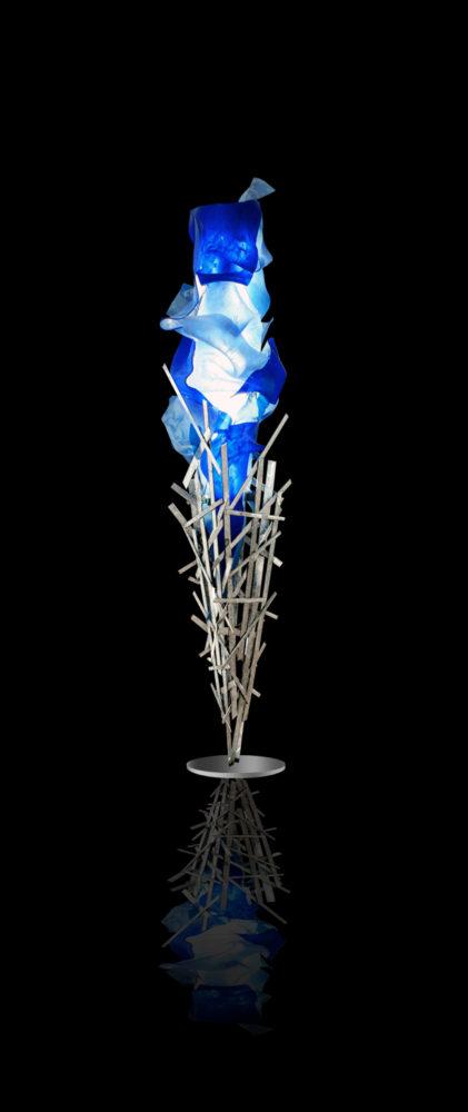 blue light sculpture