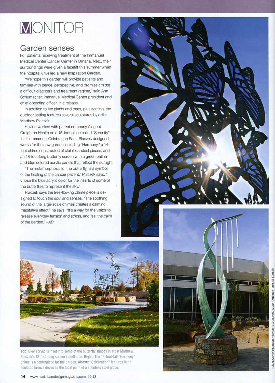 Healing Garden Immanual Cancer Center Article