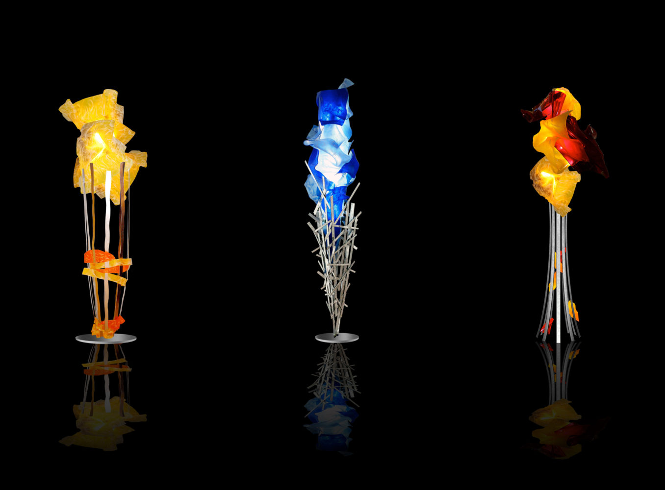 Light Sculptures Yellow Blue and Orange