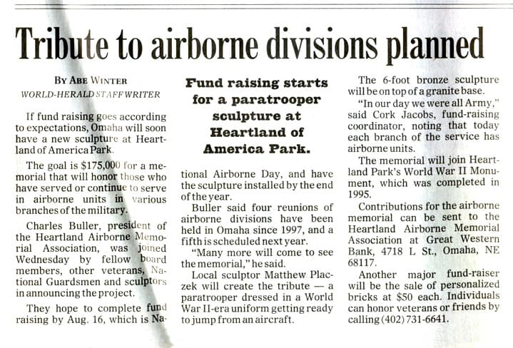 Airborn Tribute Newspaper Article
