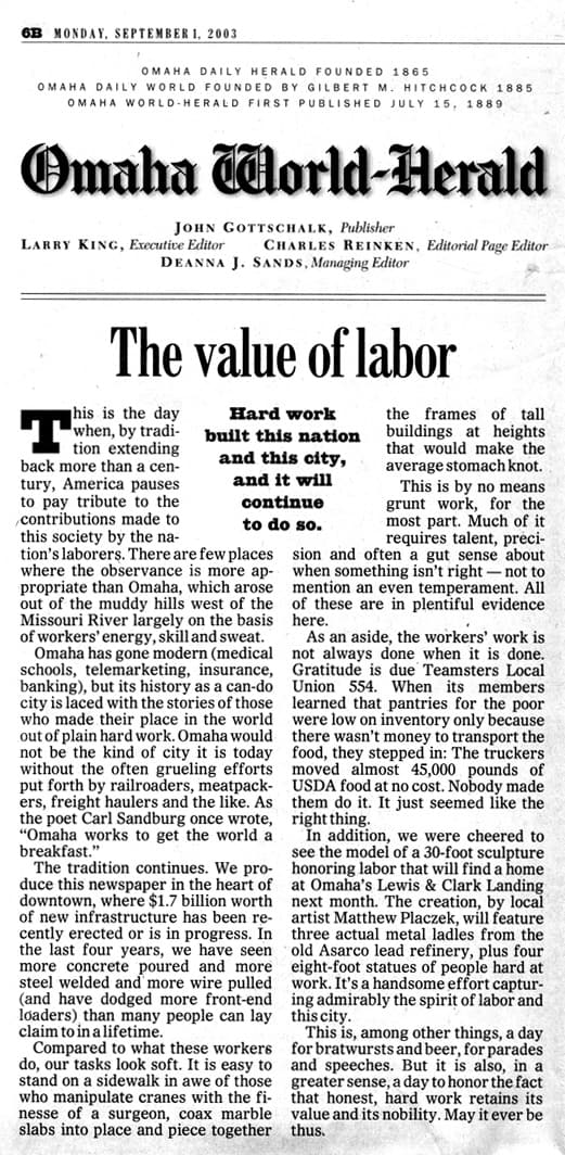 Newspaper Labor article
