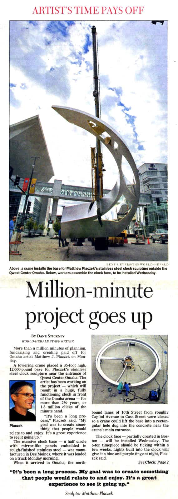 News paper Million Minutes Article