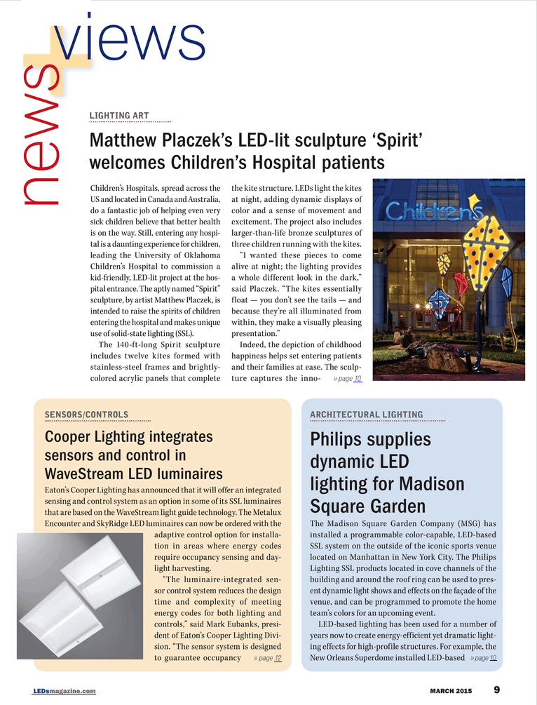 LED magazine Spirit Children's Hospital Article