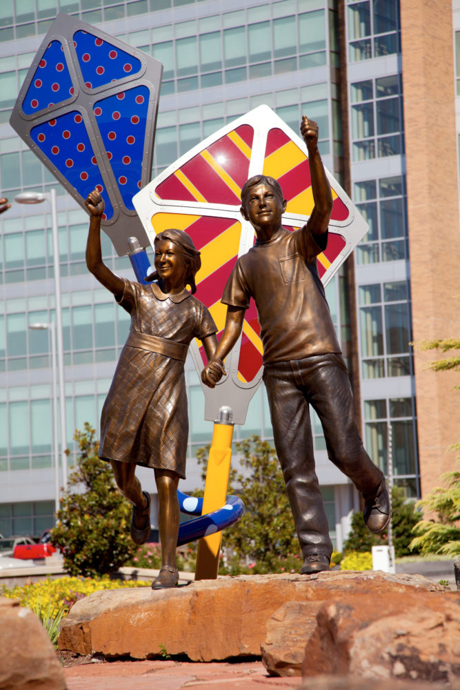 boy and girl flying kites Children's Hospital Sculpture