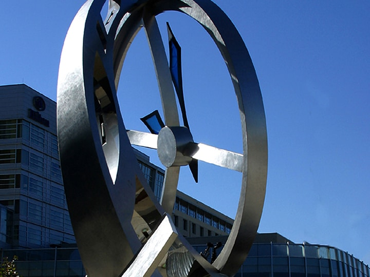 Century Link Clock Stainless Steel Sculpture