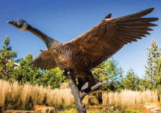 Goose upclose bronze sculpture
